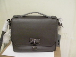 DKNY donna karan crossbody handbag gray leather with lock plaque - $197.95