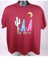 Vtg New Mexico T Shirt-XL-Maroon-Coyote Moon Cactus-Single Stitch-Hef-T-... - $28.04