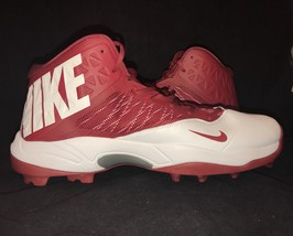 Nike Zoom Code Elite 3/4 Shark Football Cleats Red White 603370-161 Size 17 - $44.99