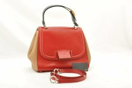 FENDI Silvana Leather 2 Way Hand Bag Red Brown Auth mt051 - $580.00