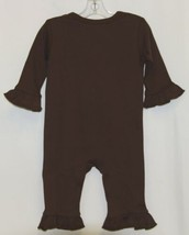 Blanks Boutique Brown Long Sleeve Snap Up Ruffle Romper Size 6M image 2