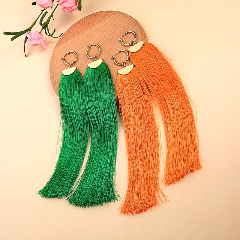 tassel earrings orange green cotton thread fringe long dangle earrings for christmas ed01607c 1