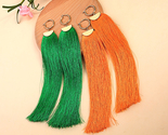 Gs orange green cotton thread fringe long dangle earrings for christmas ed01607c 1 thumb155 crop