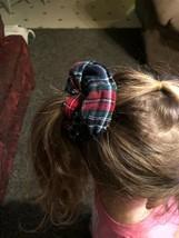 Cute Hair Scrunchie Ponytail Holder Wrist Green Red Fall Flannel Seasonal - $7.92