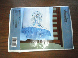 "Herrschners Winter Angel Ruffled Blue Pillowcase Embroidery 20"" x 30""  - $5.89"