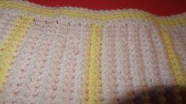 Handmade Crochet Baby Girl Boy Blanket Afghan White Yellow Unisex Newborn Stripe image 8