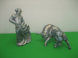 Porcelain Matador Bull Fighter & Cape With Raging Bull Ceramic Figurine ... - $32.68