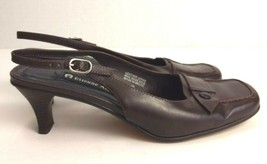 Etienne Aigner womens brown leather sling back heels square toe Ahoy size 6 M - $19.79