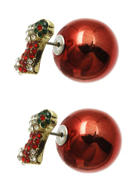 Bling Crystals Christmas Stocking Double Sided Ball Earrings Red