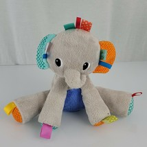 "BRIGHT STARTS - TAGGIES - Gray Elephant Lovey Plush Rattle Baby Toy 9"" - $16.82"