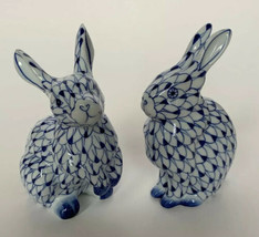 Porcelain Rabbit Figurine Andrea Sadek Blue White Handpaint Like Herend ... - £37.97 GBP