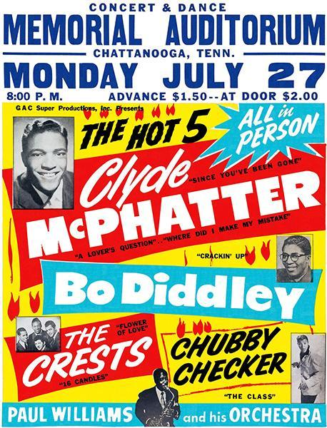 Primary image for Clyde McPhatter - Bo Diddley - Chubby Checker - 1959 - Concert Poster
