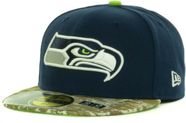 New Era Seattle Seahawks Salute Service Army Marines Camo Visor Fitted H... - £22.13 GBP