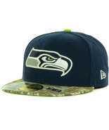 New Era Seattle Seahawks Salute Service Army Marines Camo Visor Fitted H... - €25,00 EUR