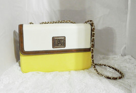 "Anne Klein Faux Leather Handbag with Chain Handles - 7"" T x 10 1/2"" W x 3"" D - $31.89"