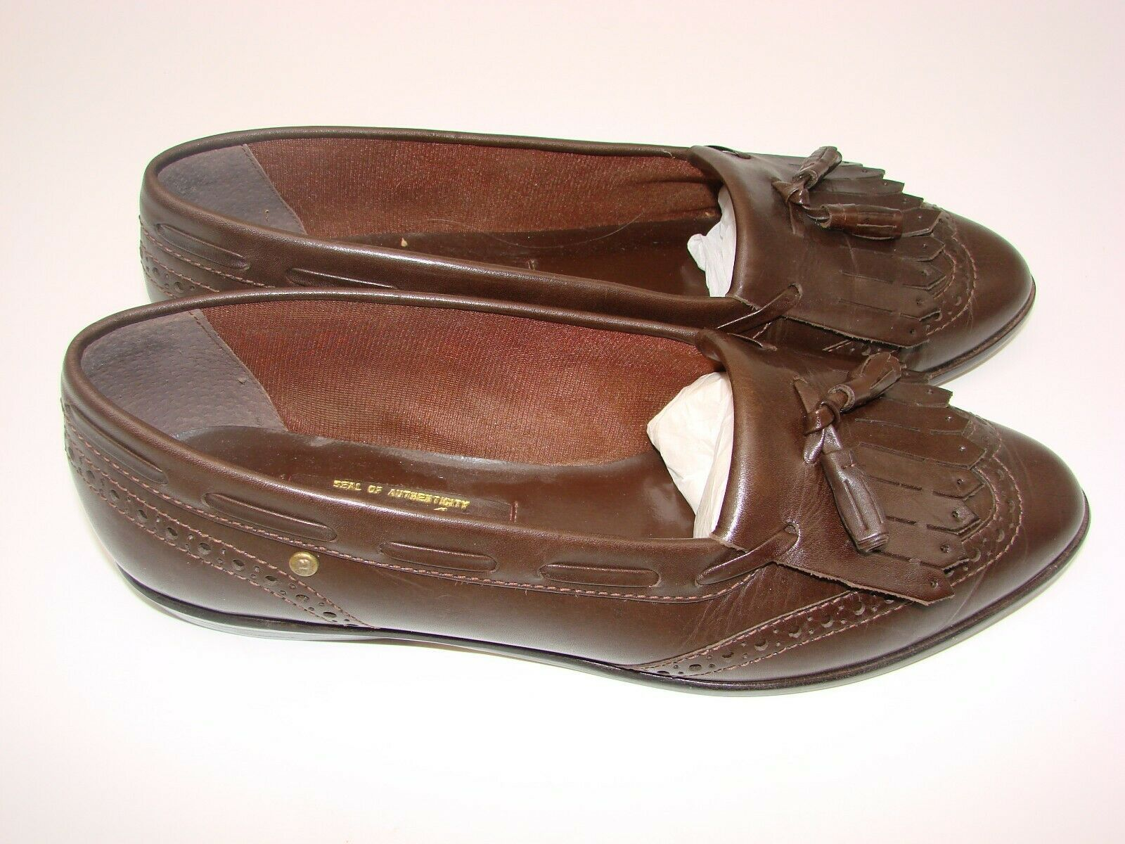 EUC Etienne Aigner Women's Tassel Slip On Pinch Loafers Dress 8 1/2M Brown