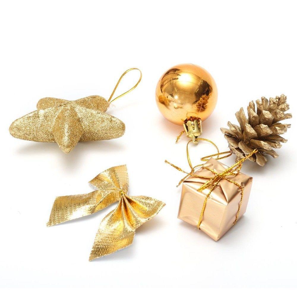 Christmas Ball Xmas Tree Golden 24pcs Bauble Home Party Decor Pine Cone Bowknot