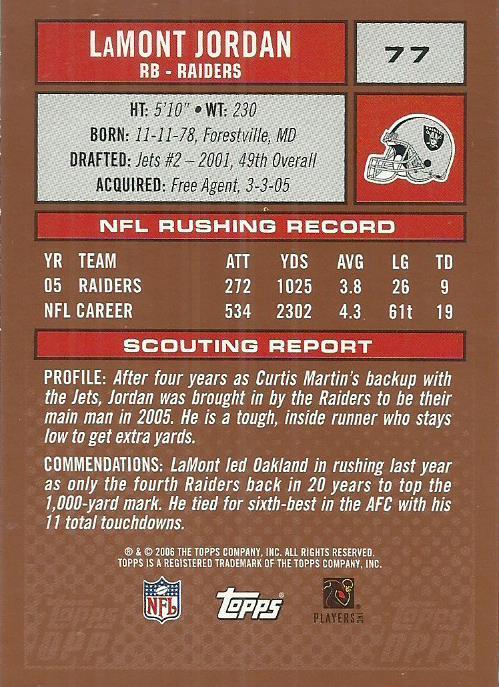 2006 Topps Draft Picks and Prospects #77 LaMont Jordan