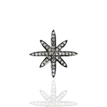 14 mm Natural Diamond Star Design Charm Pendant Vintage Style Jewelry 925 Silver - $26.80