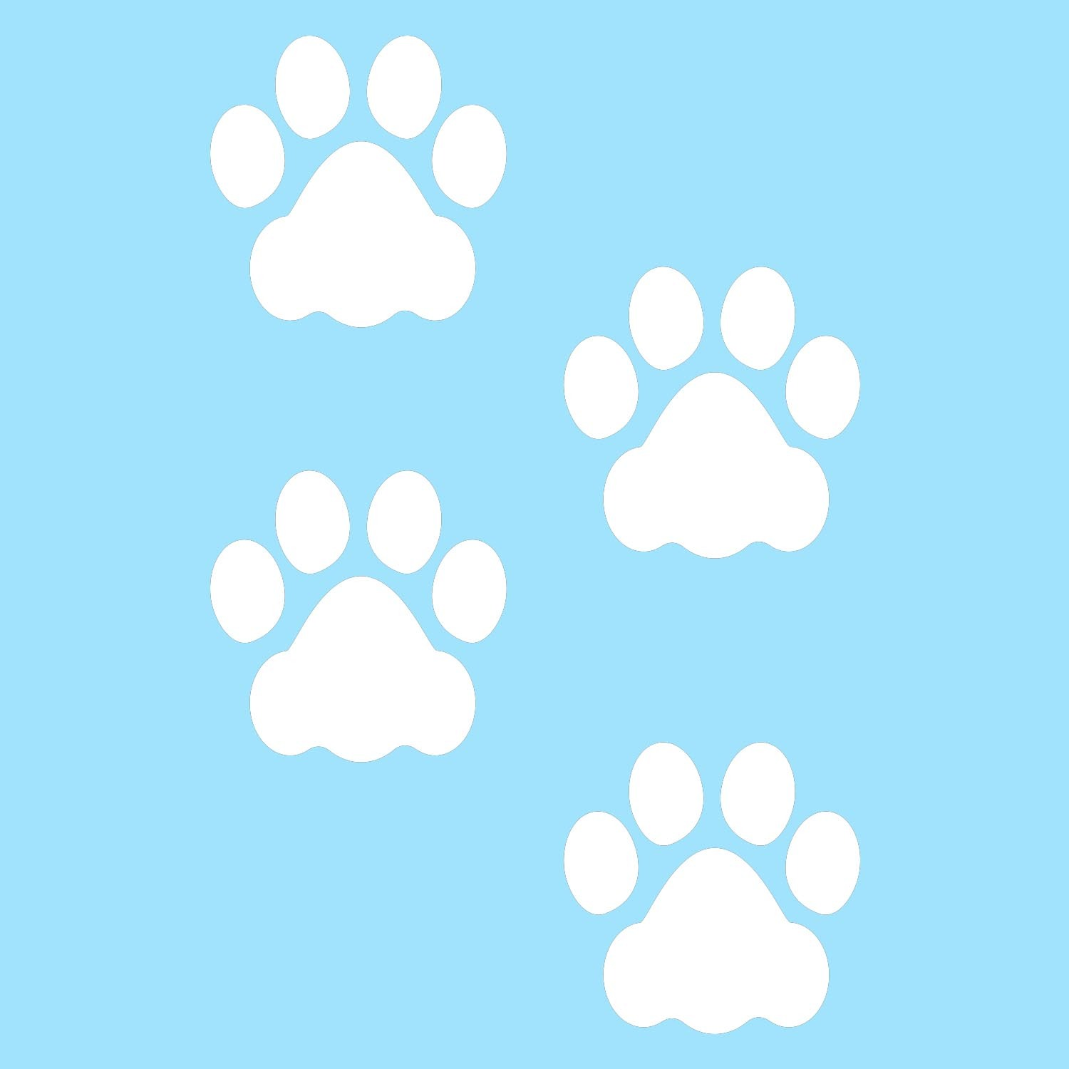 LiteMark 3 Inch White Removable Dog Paw Prints - Pack of 48