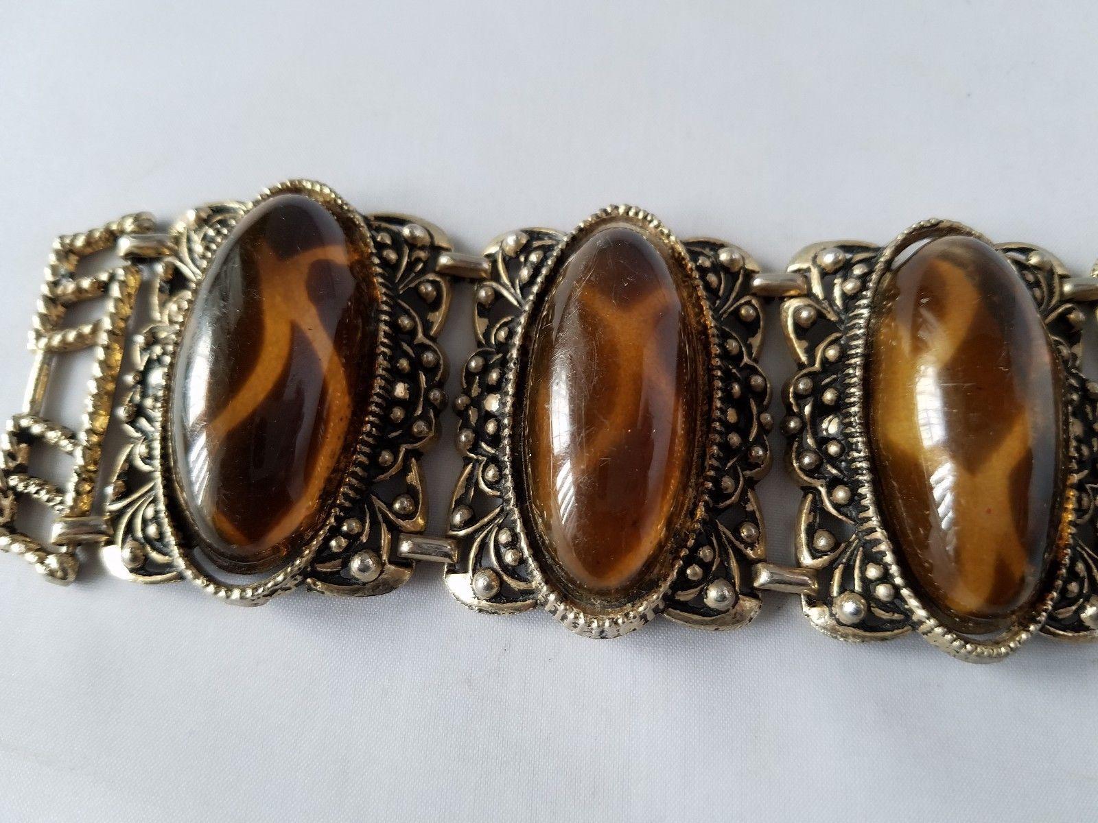 Vintage Fashion Jewelry Set Gold Tone Amber Tortoise Shell Bracelet With Clasp