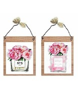 Paris Pictures Perfume Bottle with Pink Roses Parfum France Wall Hanging... - $10.99