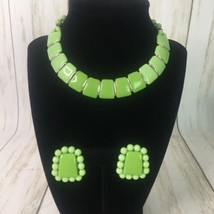 Vintage Lime Green Necklace Single Strand Choker w/ Clip Earrings West G... - $23.33