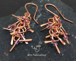 Handmade copper earrings: chainlink waterfall of hammered dangles with b... - $28.00