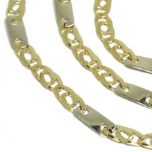 18K YELLOW WHITE GOLD CHAIN, EYE AND PLATE ALTERNATE LINK, 20 INCHES, ITALY MADE image 2