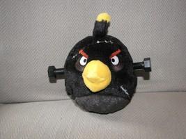 ANGRY BIRDS STUFFED PLUSH BLACK DERANGED BOMB WITH STITCHES & PLASTIC SC... - $39.59