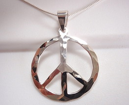 Hammered Peace Symbol Pendant 925 Sterling Silver Corona Sun Jewelry Pacifist - $14.84