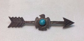 Native American Thunderbird and Arrow w/ Turquoise Brooch/ Pin!!! (Inv13) - $174.95