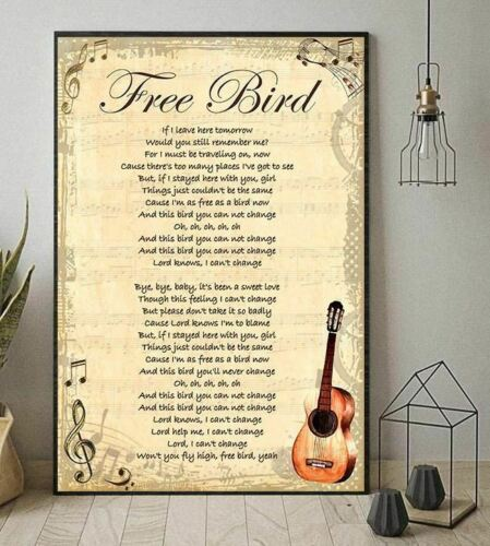lynyrd skynyrd free bird lyrics guitar vertical poster without frame us supplier art posters. Black Bedroom Furniture Sets. Home Design Ideas