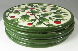 """Set of 4 Christmas Holiday DRINK COASTERS Holly with Berries 4.25"""" No Ho... - $6.42"""