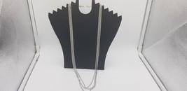 Vintage Silver Tone Multi Layer Rhinestone Necklace 15 Inches Long EUC - $25.14