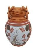 "Mexican Pottery Inca Aztec Maya Terra Cotta Faces Vase Hand Painted 7.5""... - $89.09"