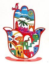 Hand Made High Design Hamsa Hand Jerusalem In Colored Metal Made - $97.90