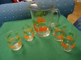 Great Glass ORANGE JUICE PITCHER and 4 GLASSES - $22.36