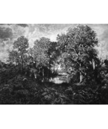 FONTAINEBLEAU Forest Scenery - 1876 ETCHING Print after Rousseau - $35.96