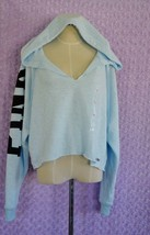 Victoria's Secret PINK Light Blue Cropped Hoodie/Sweatshirt Size L New w... - $29.69