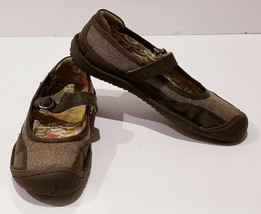Women's KEEN Brown Leather & Fabric Mary Jane Slip On Ballet Flat Shoes Size 7 - $35.86