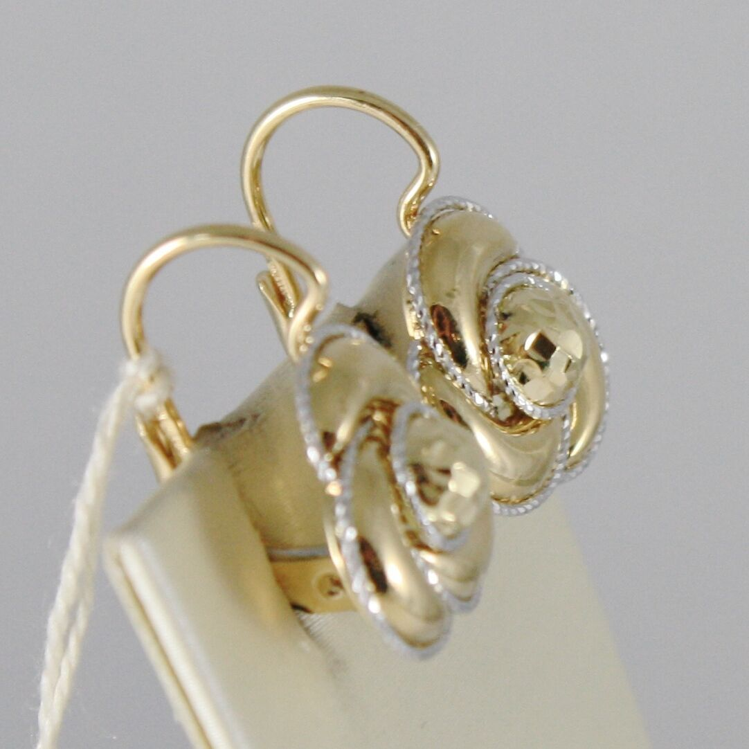 18K YELLOW WHITE GOLD EARRINGS FLOWER FINELY WORKED TWISTED WAVES MADE IN ITALY