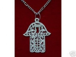 NICE 0652 Jewish Israel Chai Hamsa Pendant Charm Silver - $38.23