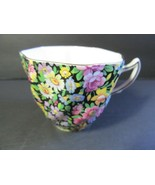 Rosina Chintz TeaCup Bone China Black  Floral #5333 Made in England - $23.76