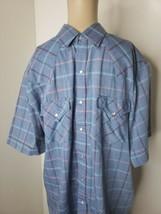 Plains Western Wear Men's Pearl Snap Button Front Size Medium Blue Plaid - $16.14
