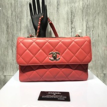AUTHENTIC CHANEL CORAL RED QUILTED LAMBSKIN TRENDY CC 2 WAY HANDLE FLAP ... - $3,499.99