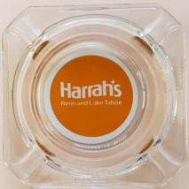 """HARRAHS  Hotel Casino RENO and LAKE TAHOE 3-1/2"""" x 3/4"""" tall clear Glass Ashtray - $9.95"""