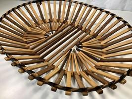 Vintage Handmade Wicker Basket Oval Coffee Table Tray Key Storage Fruit ... - $19.79