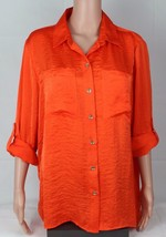 Michael Kors Mujer Blusa Top Naranja Botón Dorado Delantero Talla L - $23.03