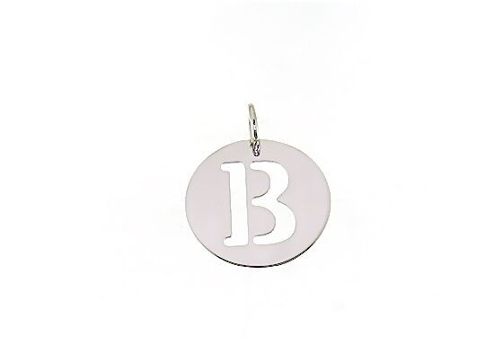 18K WHITE GOLD ROUND MEDAL WITH INITIAL B LETTER B MADE IN ITALY DIAMETER 0.5 IN